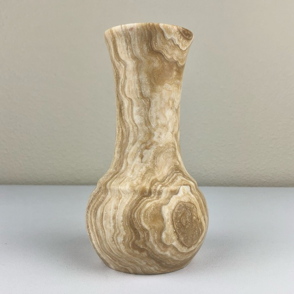 VTG Marble Stone Cream Tan Waisted Vase Minimalist